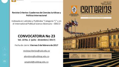 Convocatoria No 23: Revista criterios. Univ San Buenaventura